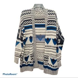 Ecote Open Front Cardigan Sweater Blue White Small